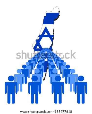 Lines of people with Israel map flag vector illustration - stock vector