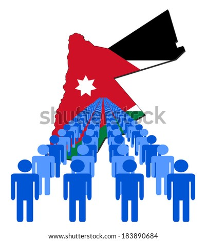 Lines of people with Jordan map flag vector illustration - stock vector