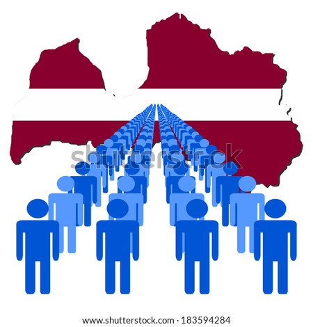Lines of people with Latvia map flag vector illustration - stock vector