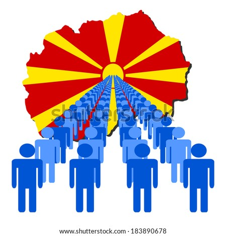 Lines of people with Macedonia map flag vector illustration - stock vector