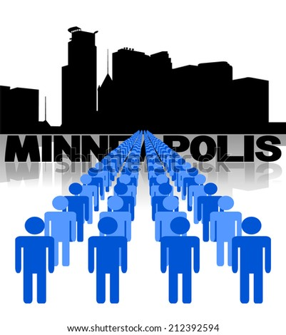 Lines of people with Minneapolis skyline vector illustration - stock vector
