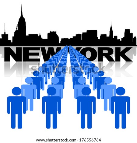 Lines of people with New York skyline vector illustration - stock vector