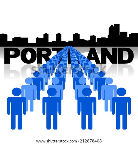 Lines of people with Portland skyline vector illustration - stock vector