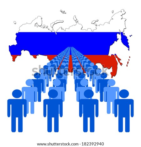 Lines of people with Russia map flag vector illustration - stock vector