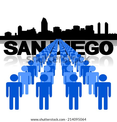 Lines of people with San Diego skyline vector illustration