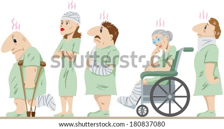 Lineup of injured people - stock vector