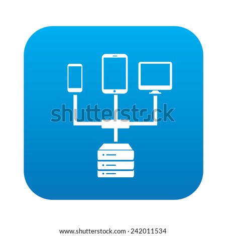 Link database on blue button,clean vector - stock vector