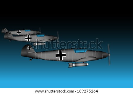 Link fighter-bomber of World War II at night - vector illustration. - stock vector
