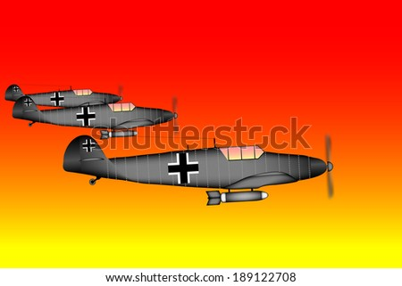 Link fighter-bomber of World War II at sunset - vector illustration. - stock vector