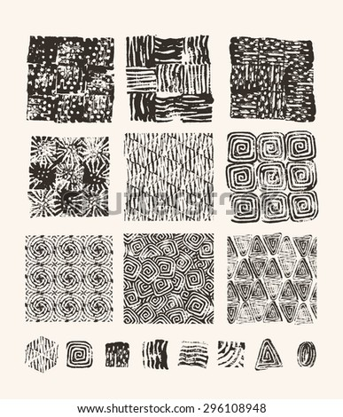 Lino cut textures - stock vector