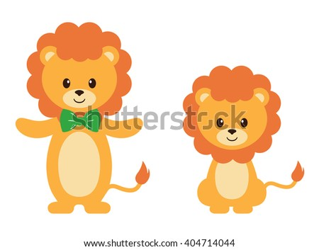 lion and bow set - stock vector