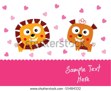 lion and teddy couple love - stock vector