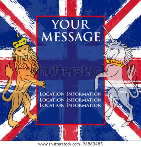 Lion and the Unicorn Background illustration with a Union Jack for a British Royal occasion or Jubilee