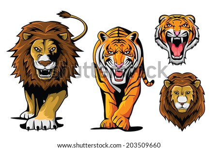 Lion And Tiger - stock vector
