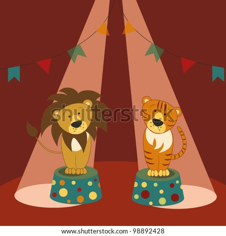 Lion and tiger sit on pedestals under beams of spotlights in a circus ring - stock vector