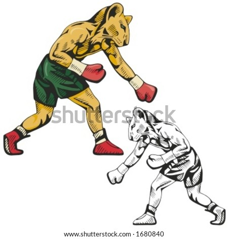Lion Boxing Mascot for sport teams. Great for t-shirt designs, school mascot logo and any other design work. Ready for vinyl cutting. - stock vector