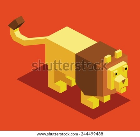 lion. 3d pixelate isometric vector - stock vector