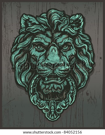 Lion Door Knocker - stock vector