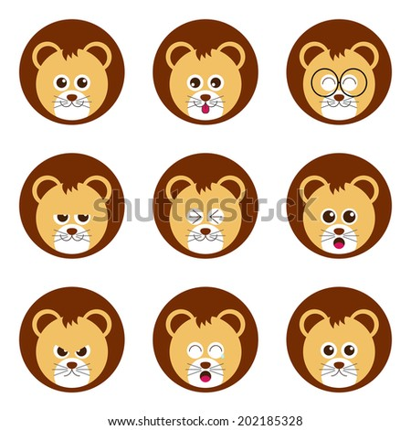 Lion emotion face icon set vector