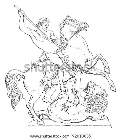 Lion Fighter / sculpture by Albert Wolff / vintage illustration from Meyers Konversations-Lexikon 1897 - stock vector