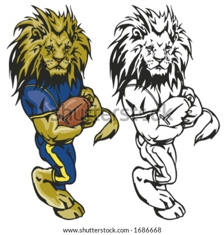 Lion Football Mascot. Great for t-shirt designs, school mascot logo and any other design work. Ready for vinyl cutting. - stock vector