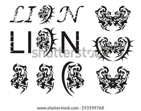 Lion head and the lion text in tribal style