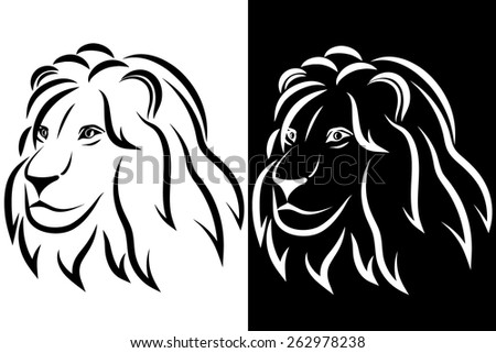 Lion head. Black and white silhouette. Logo. Vector illustration. Good for a mascot and tattoo or T-shirt graphic. - stock vector