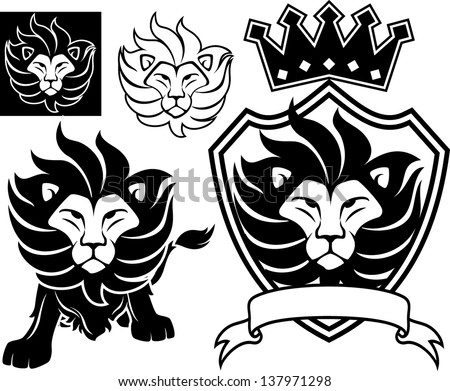 lion head designs isolated on white background, in vector format very easy to edit, individual objects - stock vector