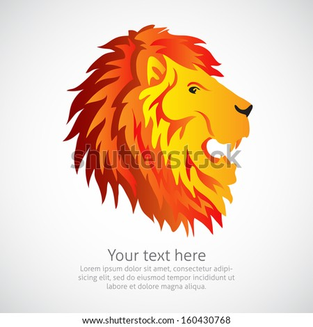 Lion head element or symbol in vector - stock vector