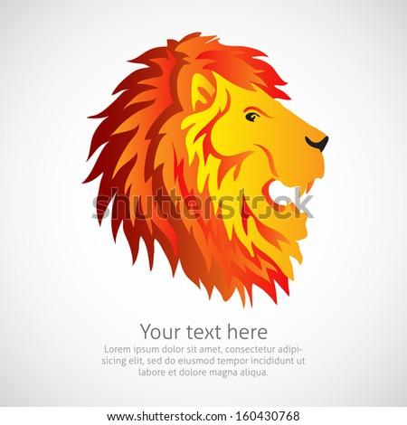 Lion head element or symbol in vector - stock vector