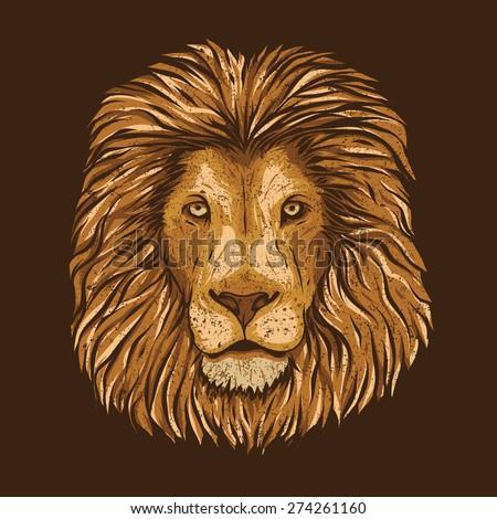Lion Head Grunge vector illustration - stock vector