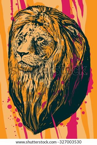 Lion head. Grunge vector illustration - stock vector