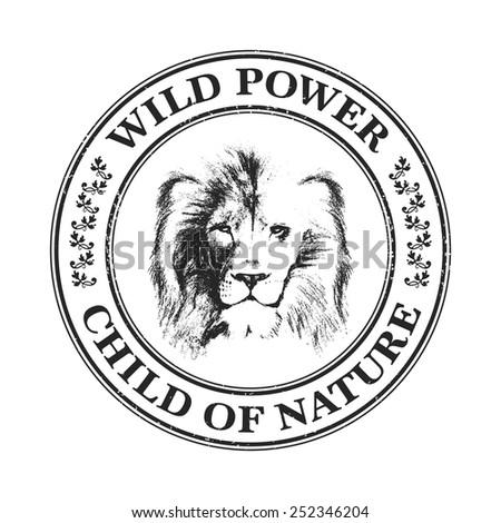 lion head. hand drawn. Grunge vector illustration - stock vector