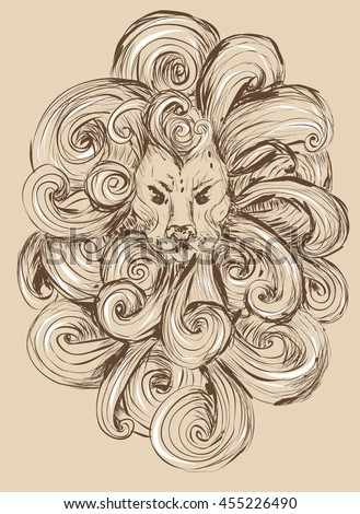 Lion head illustration. isolated on white background. stylized, grunge style. vector illustration. tattoo, design for T-shirts