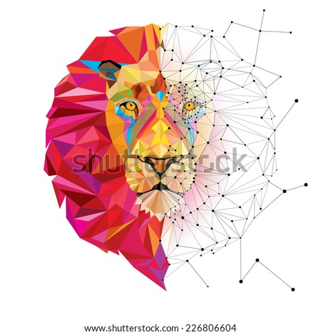 Lion head in geometric pattern with star line vector - stock vector