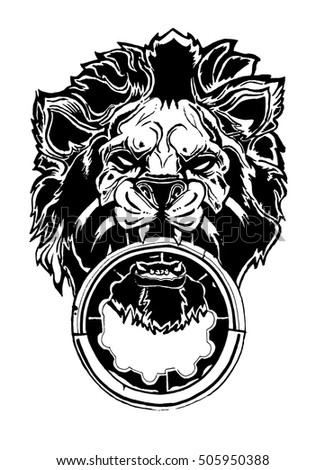 lion head in tattoo style. Illustration of the hand of the lion vector