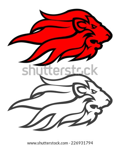 Lion head in two variants. - stock vector