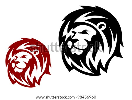 Lion head in two variations for heraldic or mascot design, such  a logo. Jpeg version also available in gallery - stock vector