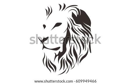 lion head line art drawing illustration stock vector 609949466