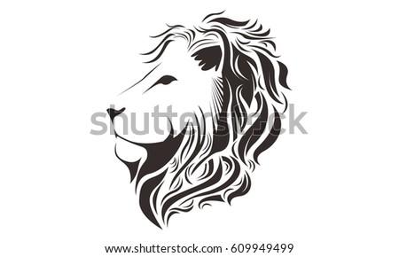 lion head line art drawing illustration stock vector 609949499