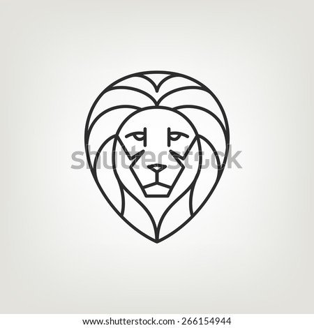 Lion head logo icon design in mono line style. Dark on light background. - stock vector