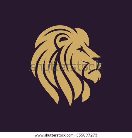 lion head logo or icon in one color stock vector illustration