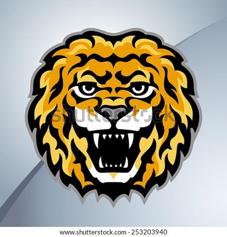 Lion head mascot. Stylized vector illustration. - stock vector