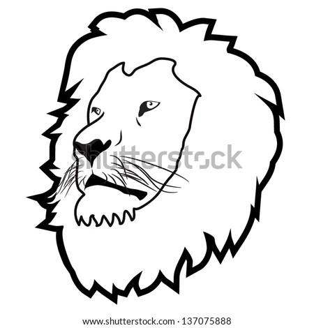lion head outline - stock vector