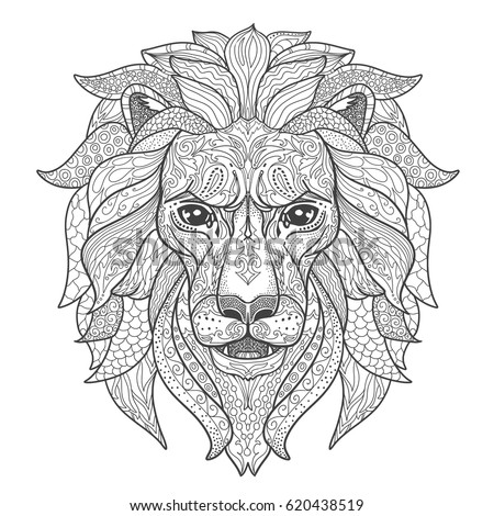 Lion Head Coloring Pages For Adults. Lion head page for adult coloring book  Black and white silhouette with doodle ornament isolated Head Page Adult Coloring Book Stock Vector 620438519