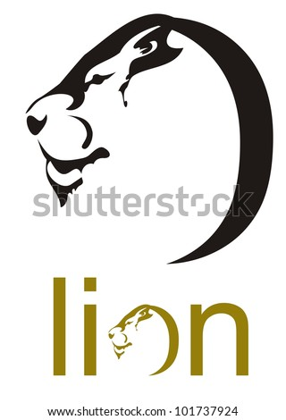 Lion head symbol. Lion head in the form of a letter O - stock vector