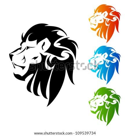 Lion Head tattoo - stock vector