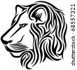 Lion head tribal tattoo - stock vector