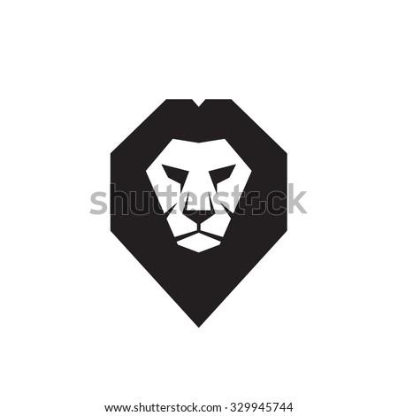 Lion head - vector logo template concept illustration. Wild cat graphic sign. Design element. - stock vector