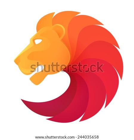 lion head volume logo vector - stock vector